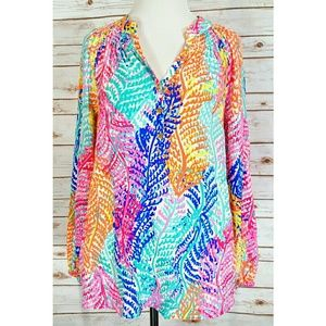 Lilly Pulitzer Multi Color 100% Silk Top NWOT